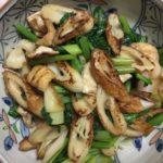 器に盛った小松菜の野菜炒めです。
