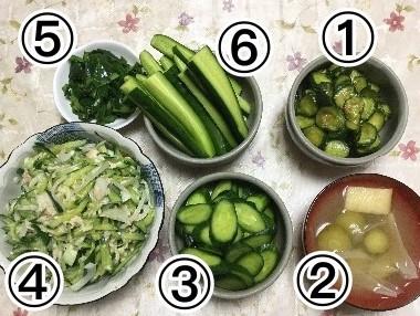 きゅうりの味噌漬け 、お味噌汁、浅漬け、ツナマヨ和え、皮のきんぴら、スティックです。