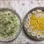 ラッコが作った刻み野菜と魚の缶詰のサラダです。