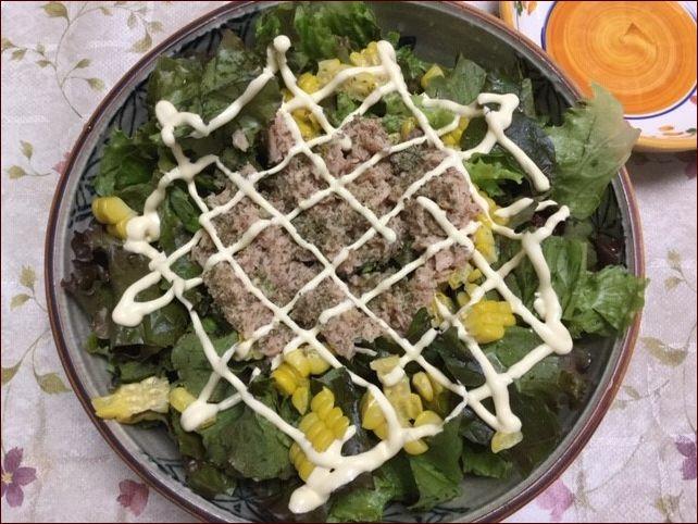 らっこが作ったサニーレタスのツナマヨサラダです。いろどりにとうもろこしを使いました。