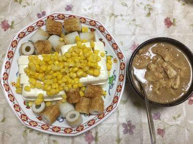 らっこが作った豆腐サラダと、こぎ義姉さんが漬けてくださった生姜のゴマ味噌漬けです。