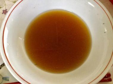 信州ラーメンの残りのスープです。