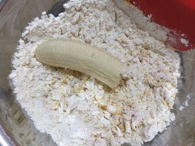 まとまらない粉類とバナナ1/2本です。
