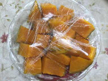 レンジで温めたかぼちゃです。