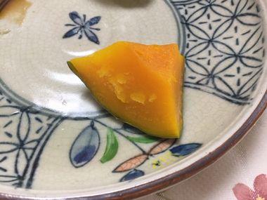 ひと口大で蒸したかぼちゃです。