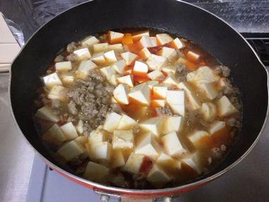 煮立ってきた麻婆豆腐です。