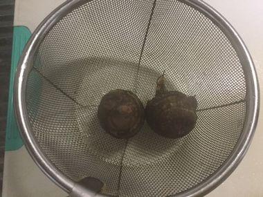 茹で上がった里芋の小さいのです。