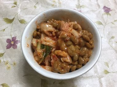 キムチと納豆を混ぜ合わせたものです。