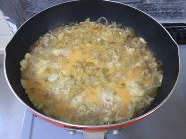 卵を煮立たせているところです。