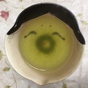 福茶碗。おかめさんの顔