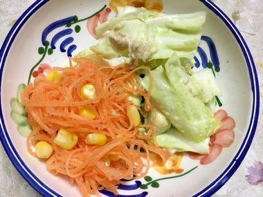 にんじんサラダとキャベツとアボカドのサラダです。