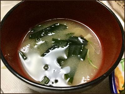 お味噌汁に入れたわかめです。
