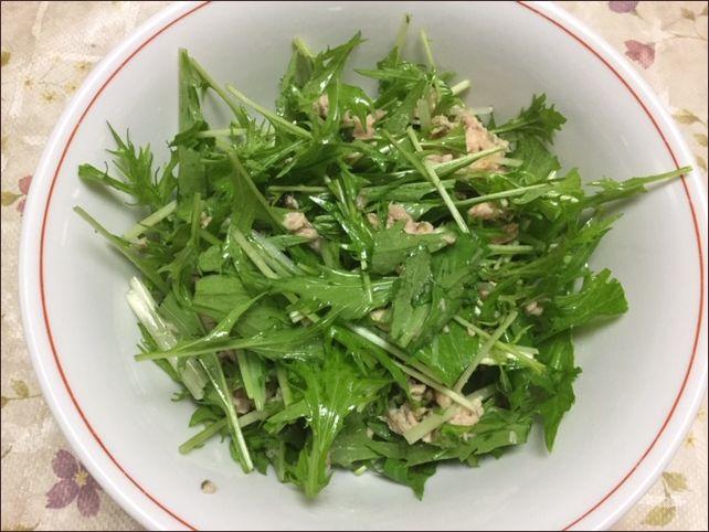 らっこが作ったツナと水菜のサラダです。