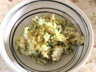 かたい水菜のチャーハンです。