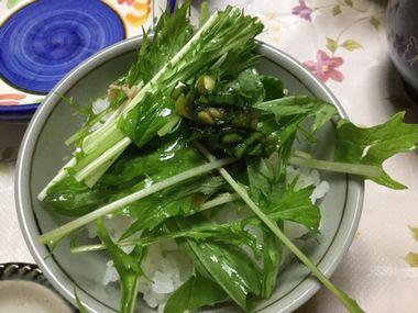 水菜とツナのサラダとニラだれです。