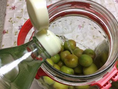 梅においしい酢を注いでします。