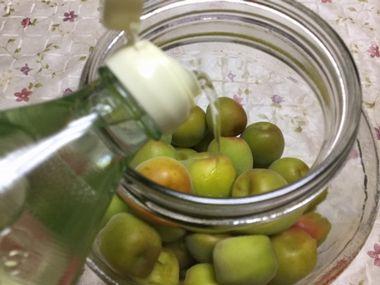 梅においしい酢を注いでいます。