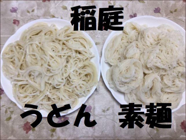 らっこが茹でた稲庭うどんと素麺です。