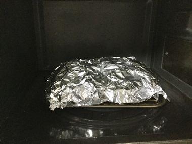 ホイルで包んでオーブントースターにセットした生どんこです。