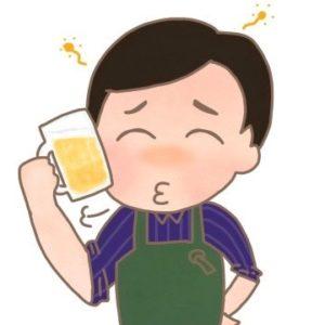 料理研究家のリュウジさんがお酒を飲んでいるイラストです。