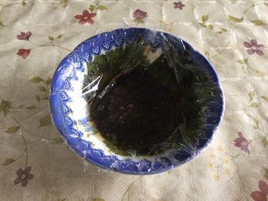 1番寝かせた紫蘇のにんにく醤油とごま油漬けの様子です。