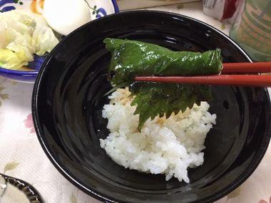 らっこが作ったにんにく醤油漬けの紫蘇でご飯を包んでいます。