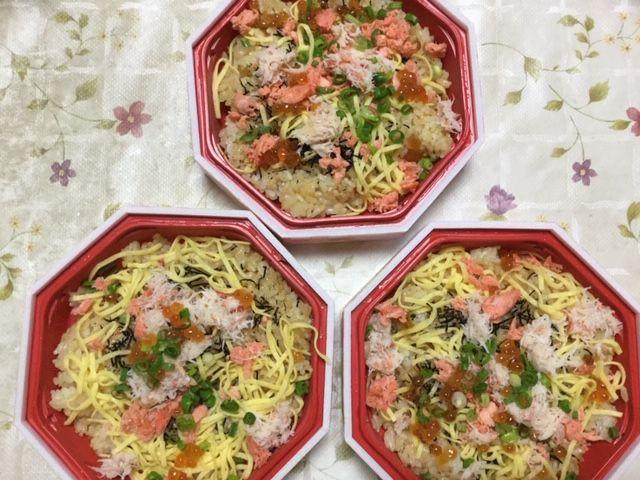 紅鮭と紅ズワイ蟹のお弁当です。