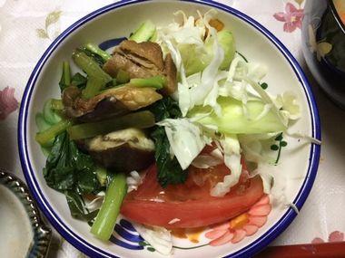 ナスと小松菜と油揚げの煮びたし風とキャベツとトマトのサラダです。