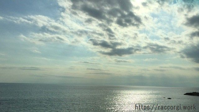 夕方の写真。海