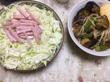 キャベツとハムのサラダとナスともやしとオクラのピリ辛とろみあんです。
