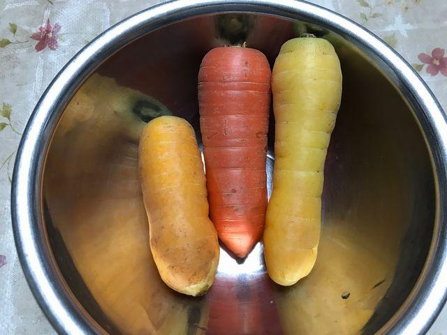 赤とオレンジと黄色のにんじんです。