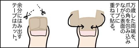 爪先保護用のテープの巻き方2