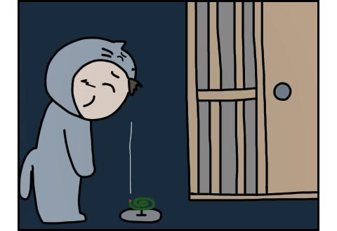 こーぎー家の玄関前で炊かれている蚊取り線香