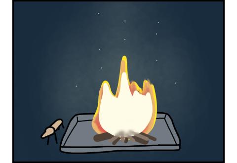 玄関前で炊かれていた迎え火