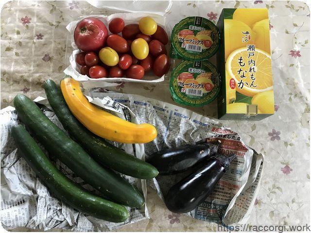 頂き物の野菜とお菓子